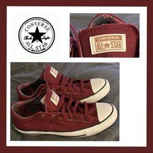 Converse All Stars NWOT Maroon/Plaid Sneakers 10